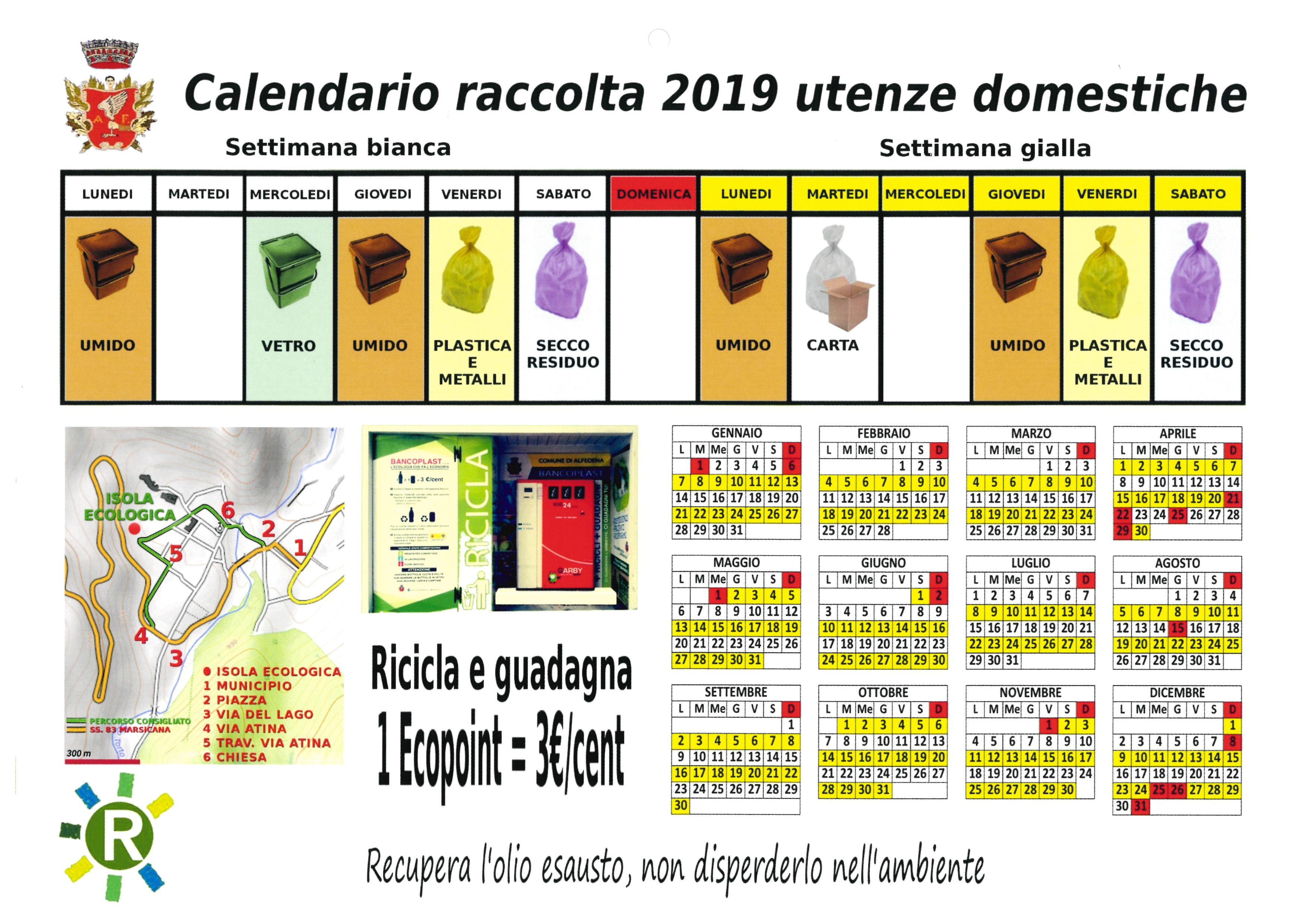 Calendario Raccolta.Calendario Raccolta Utenze Domestiche 2019 Comune Di Alfedena